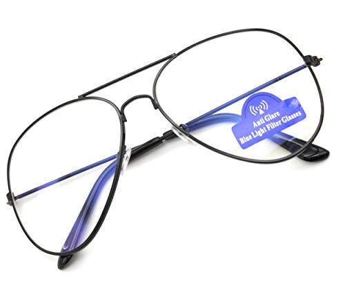 MFAZ Morefaz Ltd Damen Herren Blaulichtfilter Pilot Brille Blendschutz, Anti, Kratzfestes Objektiv...
