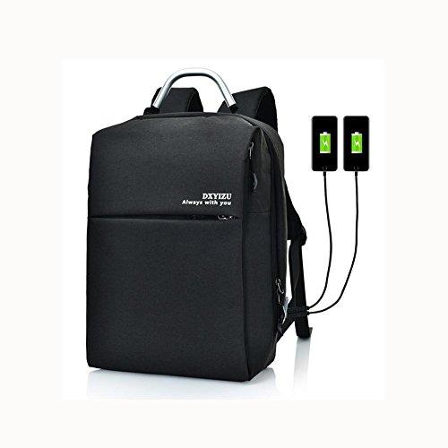 16 Hafen-faser (Backpack Laptop Rucksack 16 Zoll Mit doppelt aufladen Hafen , black)