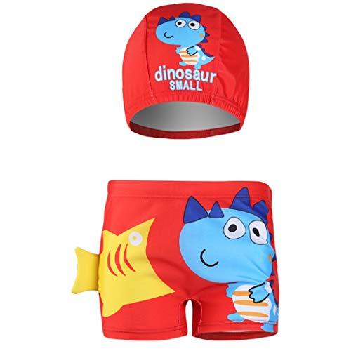 LEXUPE Kinder Kinder Jungen Cartoon Cute Letter Print Flachwinkel-Badeshorts + Hat Set(Rot,S)
