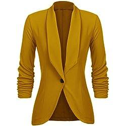 UNibelle Blazers Femme Veste Blazers Veste De Costume Manche 3/4 Casual Tailleur Chic Jaune
