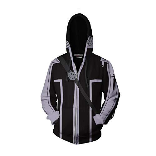 Henxizucun 3D Unisex Hoodies Print Sweatshirts Mantel Tops Pullover Reißverschluss Cosplay Langarm Sportswear Schwert Art Online,Black,XXXXXL