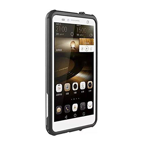 Huawei Ascend Mate 7 Waserdicht Hülle [Happon] Ultra Slim [IP68 Zertifiziert Wasserdicht] Stoßfest Stubdichtes Snowproof Handyhülle Kratzfestes Gehäuse Outdoor Handy Schutzhülle Unterwasser Cover Tasche Case für Huawei Ascend Mate 7 (Weiß)