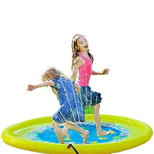 EODUDO-S Outdoor Wasser Spielen Sprinkler Sommer Spaß Hinterhof Spielen 2-3 Kinder Splash Pad 170 cm Splash Padding Pool Spielmatte Für Kinder Kleinkinder, Weitere Stile (Farbe : Gelb, Größe : 170cm)