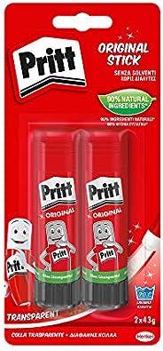 Pritt Colla Stick 2 x 43g, colla per bambini sicura e affidabile, colla Pritt per lavoretti e fai da te, con u