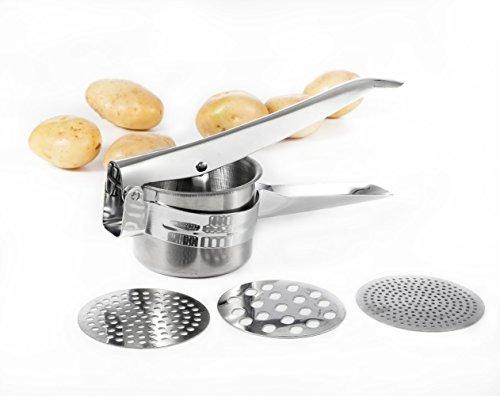 Somine Rellenador y Triturador de Patatas con 3 discos intercambiables- Prensador de Patatas y Fruta de Acero Inoxidable para alimentos cocinados