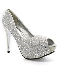 Schuhzoo - Zapatillas de Material Sintético para mujer , color plateado, talla 38