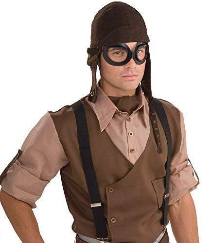 Fancy Me Erwachsene Steampunk Krieg Piloten Aviator Brille Helm Kostüm Kleid Outfit Zubehör (Aviator Kostüm Kit)
