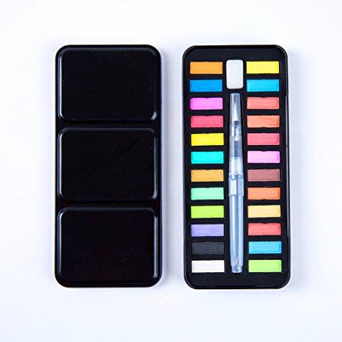 Wasserfarben Set - Mit Wasserpinsel - 24 Wasserfarben - Aquarellfarben - Perfekt für Profis und...