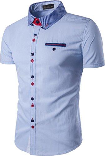 Jeansian Hommes Mode Casual Chemises Manche Courte Men's Summer Fashion Slim Short Sleeves Dress Shirts Tops 84P7 LightBlue