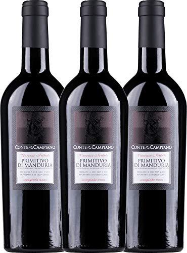 VINELLO 3er Weinpaket Primitivo - Primitivo di Manduria 2017 - Conte di Campiano mit Weinausgießer | halbtrockener Rotwein | italienischer Wein aus Apulien | 3 x 0,75 Liter