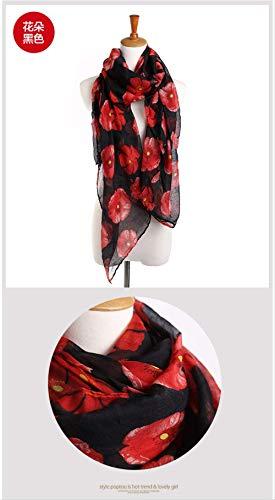 zoyolo Neue Mohn Herbst Und Winter Schals, Weibliche Balinesische Garn Schals, Langen Warmen Hals 180 x 90cm Blume schwarz -