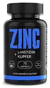 GYM-NUTRITION® — PREMIUM Zink L-Histidin Kupfer Komplex Hohe Bioverfügbarkeit | VEGAN | Höchsten Deutschen Standards | 70 vegan hochdosiert Kapseln | Zinkbisglycinat | Made in Germany