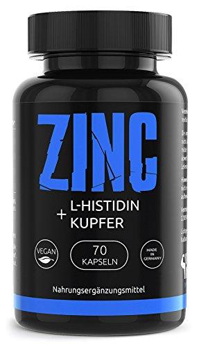 PREMIUM Zink L-Histidin Kupfer Komplex Hohe Bioverfügbarkeit | VEGAN | Höchsten Deutschen Standards | 70 vegan hochdosiert Kapseln | Zinkbisglycinat | Made in Germany