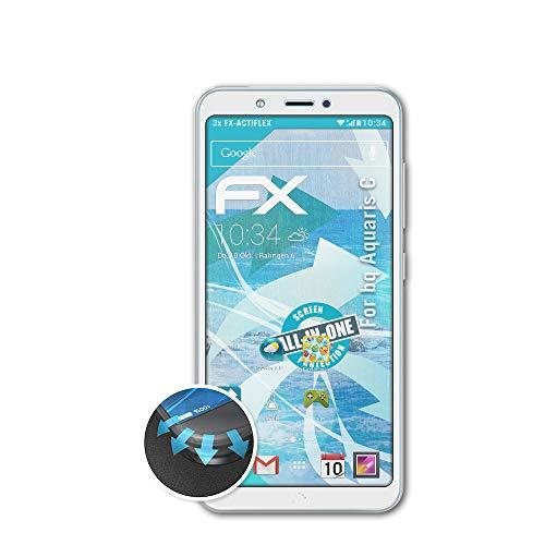 atFolix Schutzfolie passend für bq Aquaris C Folie, ultraklare & Flexible FX Bildschirmschutzfolie (3X)