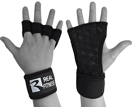 Real Empire formación guantes con muñeca apoyo levantamiento de pesas & fitness-silicone acolchado Pull Up Cross Training, entrenamientos, gimnasio Entrenamiento, negro, X-Large