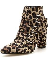 2f78b20a Botas de Tobillo de Las Mujeres Puntiagudos Tacones Altos Gruesos Partido Zapatos  Primavera otoño Botas Corte