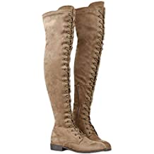 b2b6d7f6a77 Mujer Botas Ante Tacón Plano Largo Botas Altas Otoño Zapatillas de Moda  Botas Altas Zapatos de