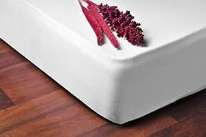 DecoKing 03190 Spannbettlaken 200 x 220 - 220 x 240 cm Jersey Baumwolle Spannbetttuch, weiß