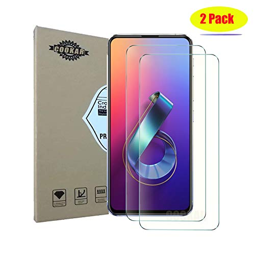 cookaR Tempered Glass ASUS Zenfone 6z 2019 ZS630KL, Compatible Housing, Full Coverage, [2 Pieces] 9H Hardness, Anti-Scratch Protective Film for ASUS ZS630KL Smartphone
