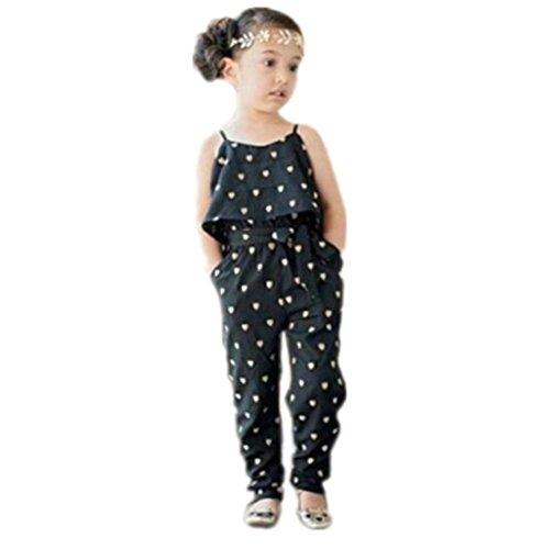 LuckyGirls Hosenträger Set Baby Mädchen Strampler Liebe Herz Hosen Overalls Slim Fit Kleidung (2T) (Schwarze Strickjacke 2t)