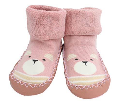 Baby Jungen Mädchen Winter Hausschuhe Socken Anti-Rutsch Teddybär 3-24 Monate Gr. 12-24 Monate, rose