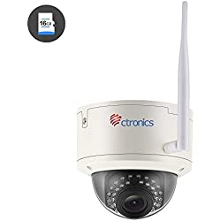 (AUTO ZOOM) Überwachungskamera Ctronics drahtlose Wlan WiFi IP Kamera Dome-Kamera mit 1080p HD-Auflösung, 30m IR-Nachtsicht durch, ONVIF 2.0, 2.8-12mm Objektiv, vorinstallierte 16GB SD-Karte CTIPC-258C1080PWS