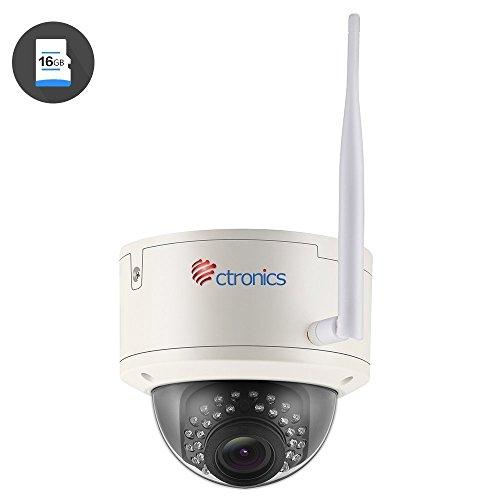 (AUTO ZOOM) Überwachungskamera Ctronics drahtlose Wlan WiFi IP Kamera Dome-Kamera mit 1080p HD-Auflösung, 30m IR-Nachtsicht durch, ONVIF 2.0, 2.8-12mm Objektiv, vorinstallierte 16GB SD-Karte CTIPC-258C1080PWS (Ipad 2 16 Gb Wifi Verwendet)