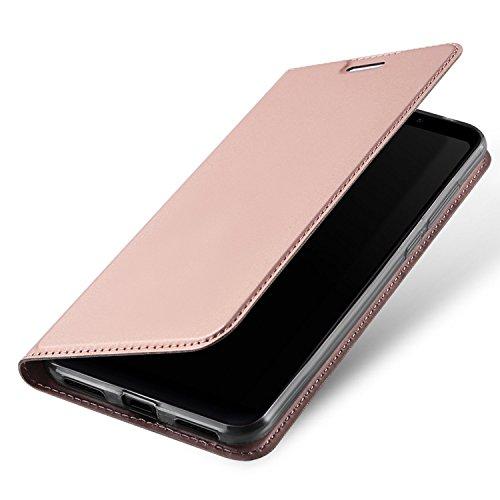 Estuyoya Xiaomi Redmi 5 Plus Funda con Tapa, Funda Tipo Libro con [Magnetic closure] Function [Support] redmi 5 Plus [Billetera para Tarjetas] Bumper TPU Transparente Antigolpes Cierre Imán - Pink gold