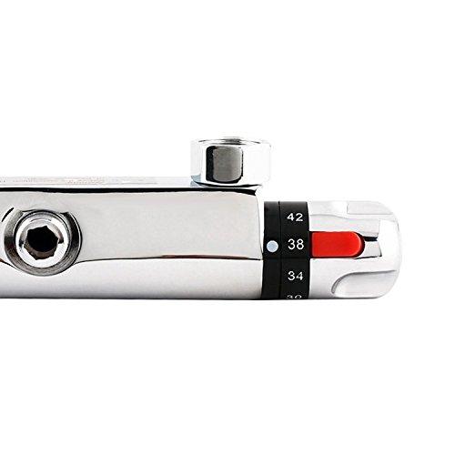 Amzdeal Duscharmatur, Duschthermostat Brausethermostat mit Kupferspule, Mischbatterie Dusche Thermostat mit Safestop Vermeidung der Temperaturschwankungen, Wassertemperatur 20-50 Grad - 5