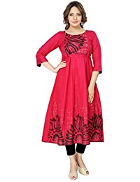 DUMMY SHAPE Women's Pure Cotton Maternity Cum Feeding Red Printed Long Kurti Dress for Casual