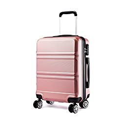 Kono Koffer Trolley Hartschale Handgepäck Zwillingsrollen Leichtgewicht ABS Kabinentrolley Reisekoffer Zahlenschloss 55cm (Nude)