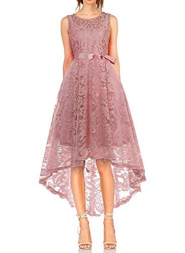 KT-SUPPLY Damen Elegant Schwingendes Kleid aus Spitzen Asymmetrisch Ärmellos  Unregelmässig Abendkleider Festlich Cocktailkleider Ballkleid Pinup  Rockabilly ... d476b5179c