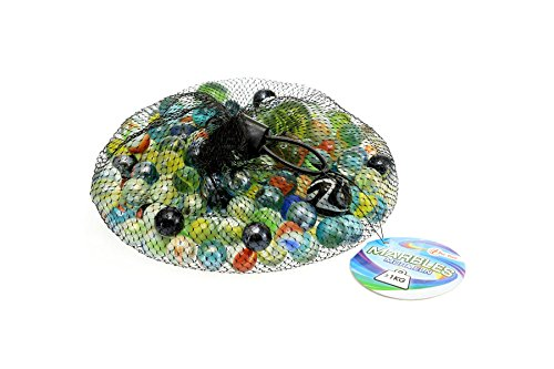 Toi-Toys Marmor Odysseus 1000g im Netz sortiert Spiel Bälle und Luftballons, 60820A, Mehrfarbig