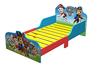 Paw Patrol Wooden Kids Junior Toddler Bed- Everest, Chase, Marshall, Skye, Rocky, Zuma.