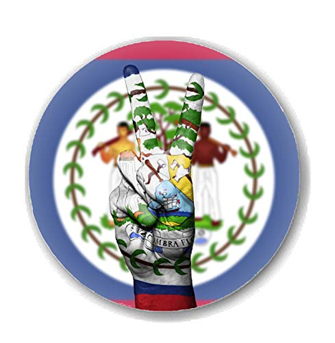 Gifts & Gadgets Co. Kühlschrankmagnet, Motiv Belize-Flagge mit Hand Frieden, rund, 38 mm, Zentralamerikanisches Geschenk (Krieg Und Frieden Kostüm)