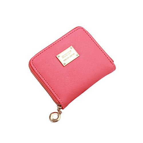 e Damen PU Leder Reißverschluss Mini Brieftaschen Portemonnaie (Wassermelone rot) (Kleine Brieftasche Brieftasche Frauen)