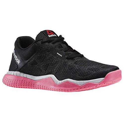 Reebok Zprint Train, Chaussures de Sport Femme Negro / Rosa / Blanco (Black/Solar Pink/Steel)