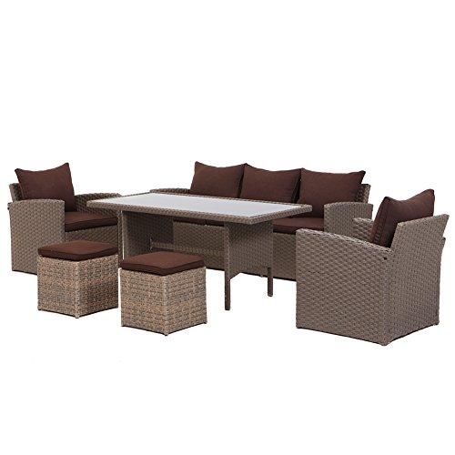 Möbel Lounge Patio (Grand patio 6 teilig Rattan Patio-Möbel-Satz Garten-Rasen-Sofa gepolsterter Sitz Weiden Sofa (misch braun))