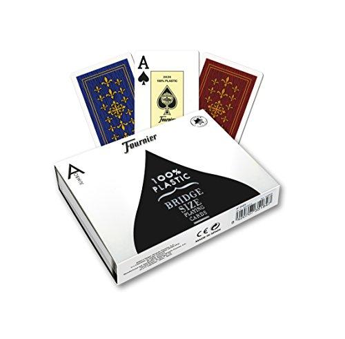 Fournier 1028942 1028942-Pokerkarten aus Doppel Kunststoff Flor de Lis (2 Jumbo Index) (Sehbehinderte Spielen Karten)