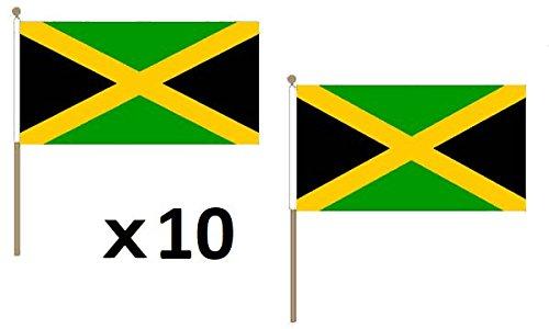 AZ FLAG Pacco 10 Bandiere Giamaica 45x30cm con Asta di Legno - Bandiera GIAMAICANA 30 x 45 cm