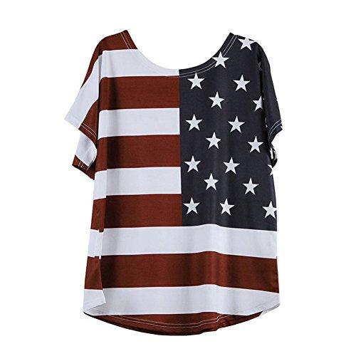 HEATLE Mode Frauen Sommer tägliche persönlichkeit Lässige Oansatz Kurzarm Plus Größe Frauen Mode Lose Bluse Stern Streifen USA Flagge Amerika T-Shirt(rot,5XL)