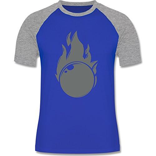 Bowling & Kegeln - Kegeln Flammen Kugel einfarbig - zweifarbiges Baseballshirt für Männer Royalblau/Grau meliert
