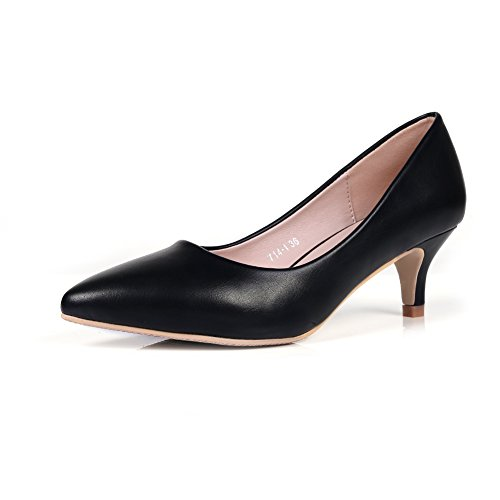 Smiry Women's Sexy White Black Elegant Low Heel Shoes Pointed Toe Silp...