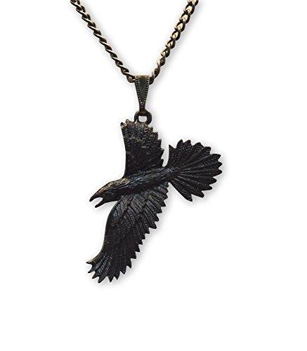 Negro Raven negro cuervo gótico peltre colgante collar