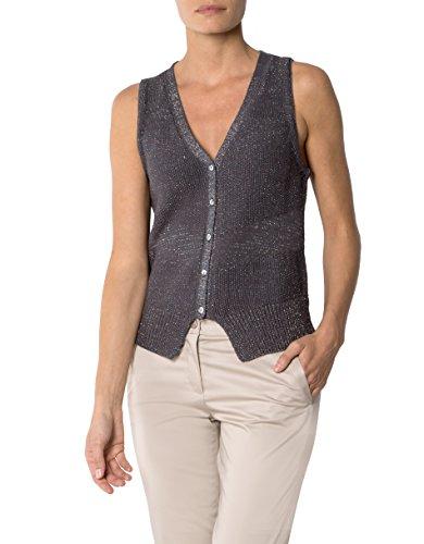 KOOKAI Damen Weste Baumwollmix Ärmellos-Jacke Unifarben, Größe: 36, Farbe: Grau