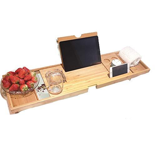 QAL Badewanne Tablett, Brücke Badewanne Naturbambus Regal erweiterbar und rutschfest Bad Seite wasserdicht geeignet für Weinglas (74,5-95 * 22,5 * 3) Takemoto color-74.5 * 22.5 * 3 -