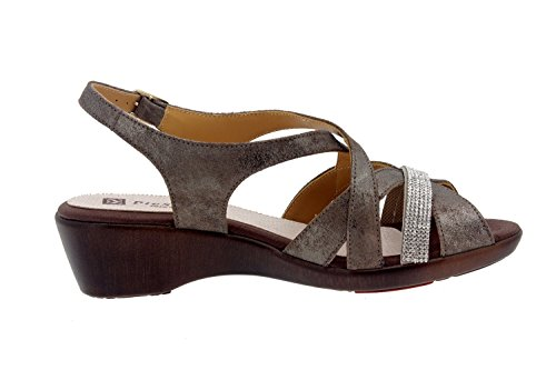 Chaussures en cuir Femme confort-Piesanto 8558 Sandales cale chaussure confortable large Vison