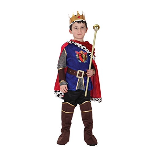 Labellevie Prinzenkostüm Königsmantel mit Krone Königsumhang mit Kopfschmuck König Robe Prinz Kostüm Halloween Mantel Renaissance Herrscher Umhang Allerheiligen (Kind Renaissance König Kostüme)