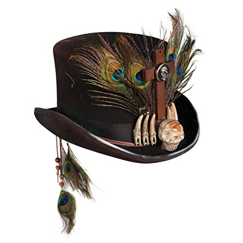 Halloween Kostüm Hexendoktor - Zylinder-Hut Voodoo Herren Schwarz mit Knochen & Federn| Hochwertiges Zubehör für Tag der Toten- oder Voodoo-Kostüm | Größe 59