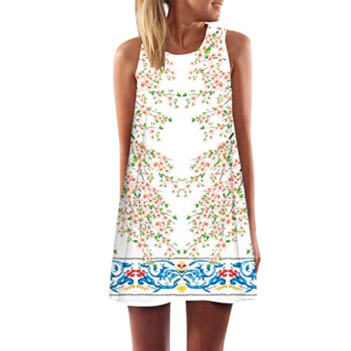 MAYOGO Sommerkleider Damen Casual Ärmellos T-Shirt Kleid Kurzen Blumen Bedrucktes Strandkleider mit Taschen - Mit T-shirt-kleid Schlitzen
